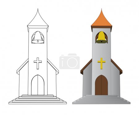 color in and line drawing church with bell vector