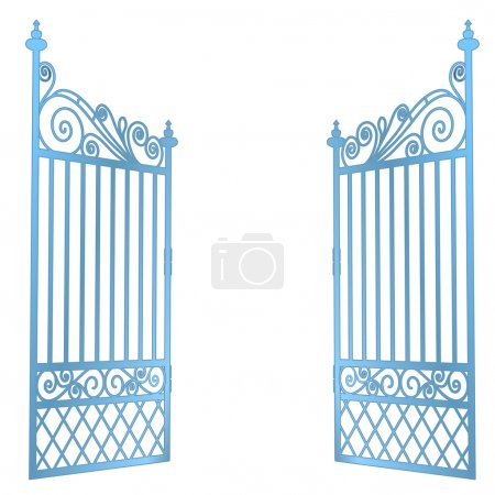 isolated steel decorated baroque open gate vector