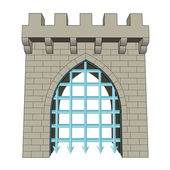 isolated medieval closed gate vector