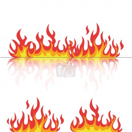 flames set with reflection on white vector