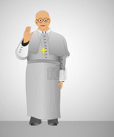 Illustration pour Premier pape de bénédiction argentine aux chrétiens illustration vectorielle - image libre de droit