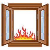 """Постер, картина, фотообои """"Открытый огонь и пламя в векторе лесистых фрейма окна"""""""