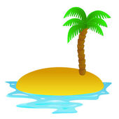 Lonely tropical sandy island vector clip art illustration