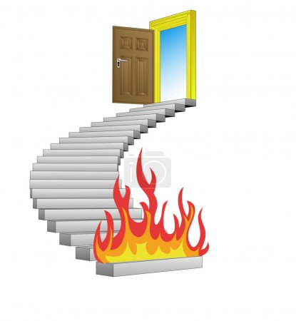 spiral stairway with fire obstacle concept vector
