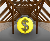 attic under construction with dollar coin vector