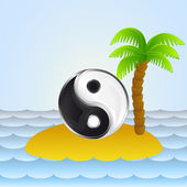 Lonely island with yin yang meditation vector illustration