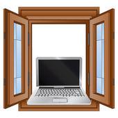 Open window to internet surfing vector illustration