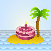 Lonely island with holiday cake celebration vector illustration