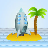 Lonely island with space ship cosmic travel vector illustration