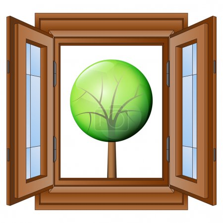 open window to nature exploring vector