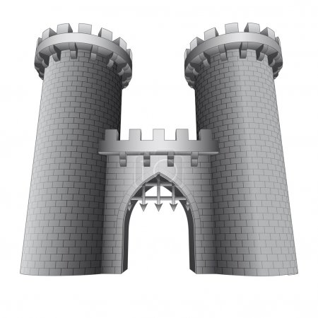 isolated castle gate with two towers vector
