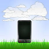 smart phone entertainment in peaceful landscape vector