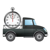Isolated pick up car on time delivery vector drawing illustration