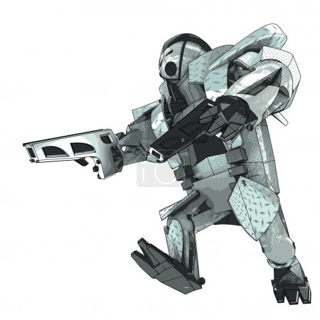 Isolated running armored robot campaigner vector 3D model my own drawing