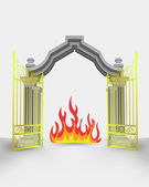 golden gate entrance with open fire vector