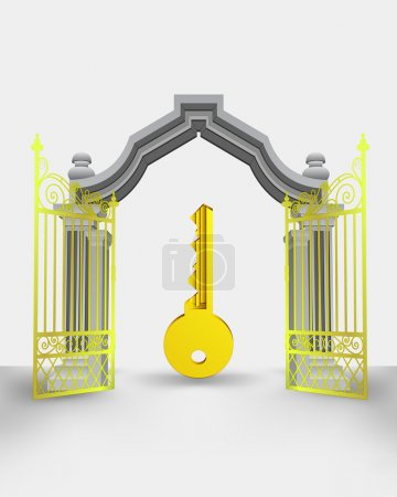 golden gate entrance with right key vector