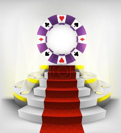 Poker chip on round podium