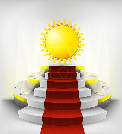 Holiday sun on round podium