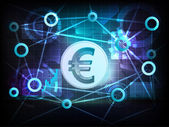 Golden Euro coin in business world transfer network