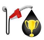 Golden cup in oil drop