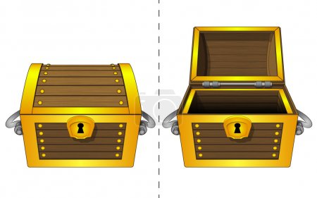 Isolated closed adn open wooden gold chest vector