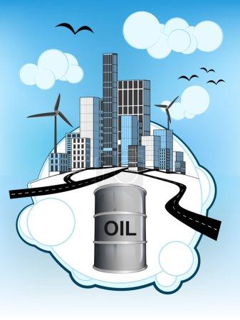 Illustration pour Baril de pétrole sur bulle blanche avec illustration vectorielle du paysage urbain écologique - image libre de droit