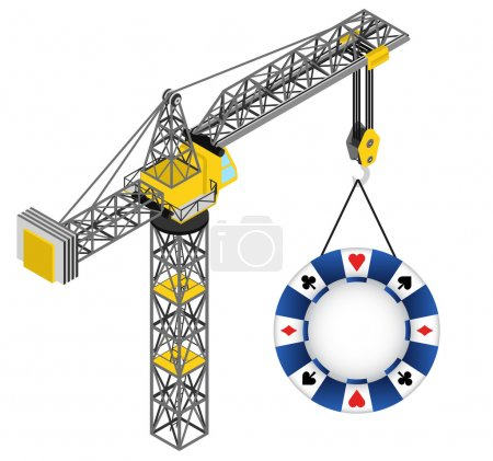 poker chip hanged on isolated crane drawing vector