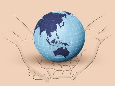 Asia earth world hold two human hands across vector