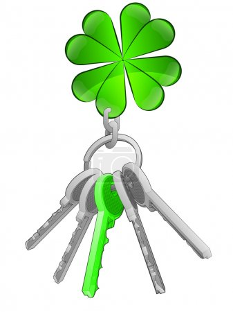 Cloverleaf happiness on key ring