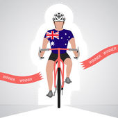 Australian cyclist in front view crossing red finish line vector isolated
