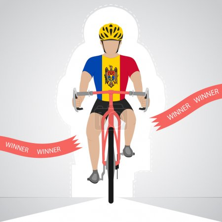 Moldavian cyclist in front view crossing red finish line vector isolated