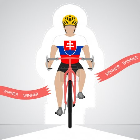 Slovakian cyclist in front view crossing red finish line vector isolated