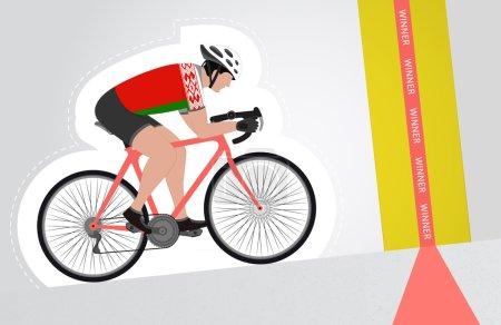 Illustration pour Cycliste biélorusse monter à la ligne d'arrivée vecteur illustration isolée - image libre de droit