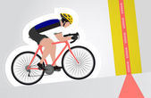 Estonian cyclist riding upwards to finish line vector isolated