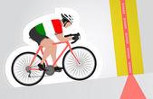 Italian cyclist riding upwards to finish line vector isolated