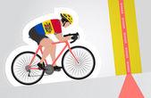 Moldavian cyclist riding upwards to finish line vector isolated