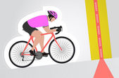 pink dressed cyclist riding upwards to finish line vector isolated