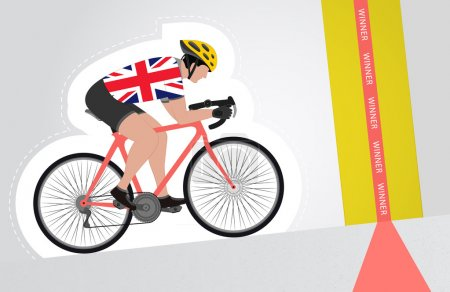 British cyclist riding upwards to finish line vector isolated