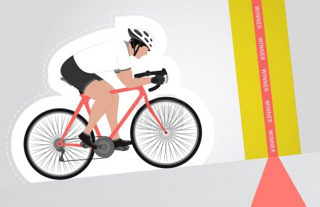 white dressed cyclist riding upwards to finish line vector isolated