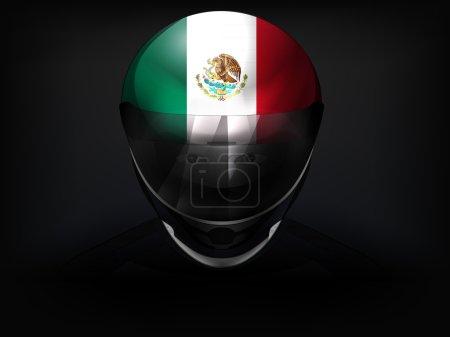 Mexican racer with flag on helmet vector closeup