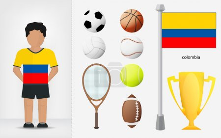 Colombian sportsman with sport equipment collection vector