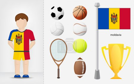 Moldavian sportsman with sport equipment collection vector