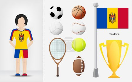 Moldavian sportswoman with sport equipment collection vector