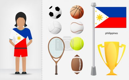 Filipino sportswoman with sport equipment collection vector