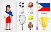 Filipino sportswoman with sport equipment collection vector