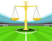 Justice weight in the midfield of football stadium