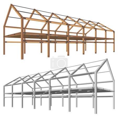 schéma de construction en acier et en bois