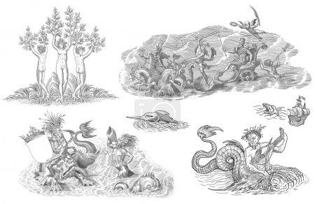 Neptun und Monster Illustration