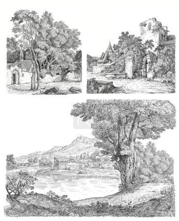 Photo pour Illustration du village - image libre de droit