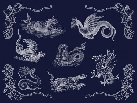 Dragons set illustration